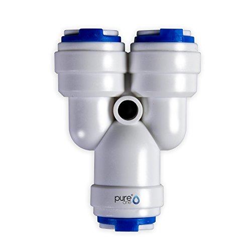 'PureOne qf-100 C70-c-17d Quick Mamelon – connecteur rapide 3/8 x 3/8 x 3/8. Modèle : Répartiteur | forme de Y. Tuyau d'accessoires pour inversion de Systèmes Osmose, installations d'eau ou réfrigérateur
