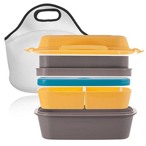 [NEU] Premium Bento Lunch Box – Mehrere Fächer, Variable Gestaltung, Eingebauter Optionaler Gel Kühlakku, 100{40a7af5163c1a23a94245e28f9a0b964a9f35470d13322c288030de1b0d0b18a} Auslaufsicher – incl. Neopren Transporttasche