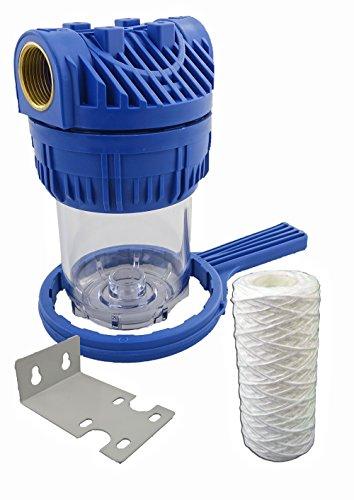 GPV5-Y. Vorfilter 1L für Hauswasserwerke, Hochdruckreiniger, Teichfilter, Schmutzfilter, Pumpenvorfilter mit Faser Filtereinsatz 5Zoll, Anschluss Messing-Innengewinde 1 Zoll (ca.30,93mm).