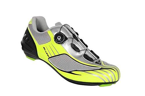 Massi Aria - Zapatillas para Ciclismo de Carretera Unisex, Color neón/Gris, Talla 45