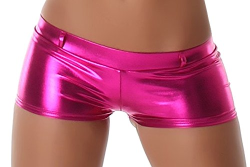 GoGo Hot-Pants Shorts Panty kurz Glanz metallic, Pink Fuchsia ()