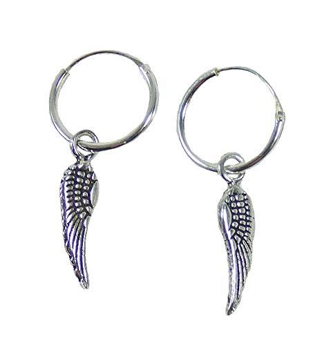 Pendientes de aro de plata de ley 925 con colgante de alas de ángel, joya india
