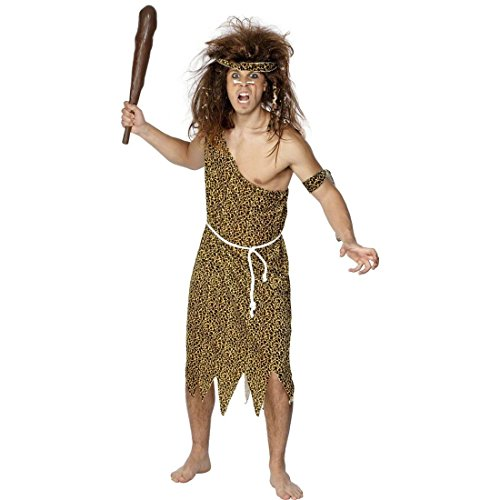 NET TOYS Höhlenmensch Kostüm Steinzeitkostüm Braun M 48/50 Steinzeit Kostüm Neandertalerkostüm Neandertaler Verkleidung Fasching Karneval