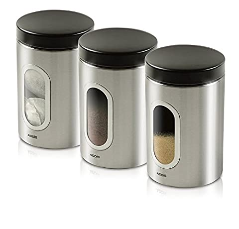 Addis Fingerprint-Resistant Steel Kitchen Canister Set of 3 with Clear Window for Easy
