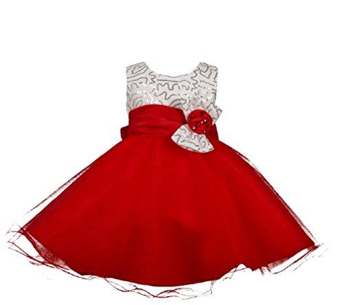 Glänzend Kleinkind Pailletten Big Schleife Blume Mädchen Geburtstag Party Tutu Kleid Gr. 4 Jahre,  - Red Skirt