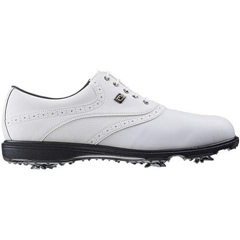 FootJoy HydroLite - Zapatos de golf para hombre, color blanco / blanco grana