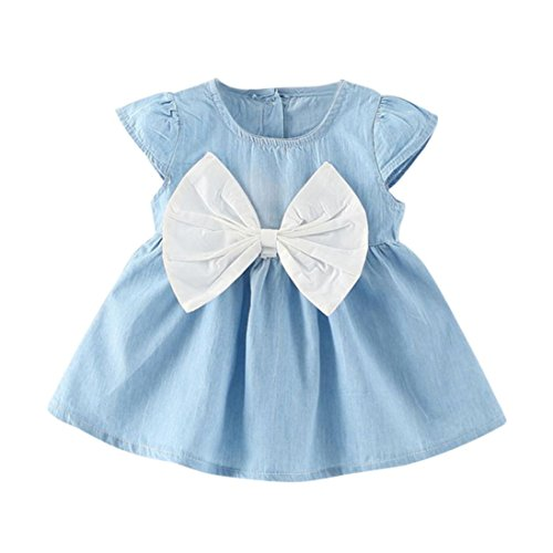SOMESUN Kleid Mädchen Baby Bowknot Dress Solid Denim (12 -18 Monate, Weiß)