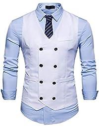 Gilet pour Hommes Costume Hommes De Mariage Business Blazer Gilet Slim  Jeune Fit Top V- af30ad264b9