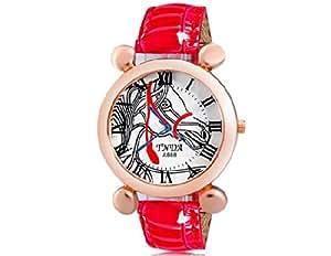 TNLA A888 Tête de cheval Imprimer Montre femme quartz avec bracelet en cuir de Faux (rouge) M.