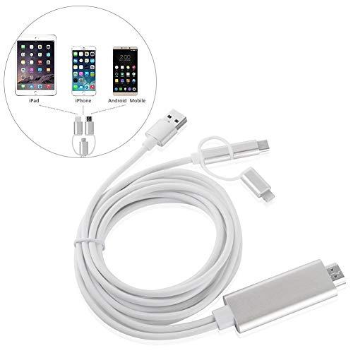 iBelly 3-in-1 Illuminazione/Tipo C/Micro HDMI Cavo HDMI Mirroring Schermo del Cellulare per TV/proiettore/Adattatore Adattatore Risoluzione 1080P per dispositivi iOS Android