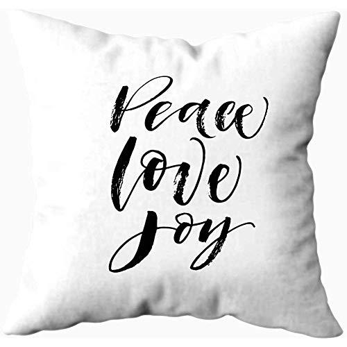 2PC 18X18,Sofa Pillow Cases,Quadratischer Wurfs-Kissenbezug Bedeckt Weihnachtsfriedensliebes-Feiertags-Phrasen-Tinten-Moderne Kalligraphie Lokalisierten Weißen Hintergrund -