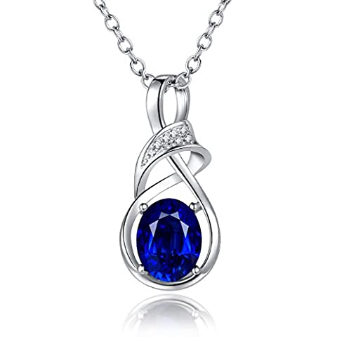 Blue Birthstone Women Pendant Necklace with 18 inches Chain Rhodium Plated