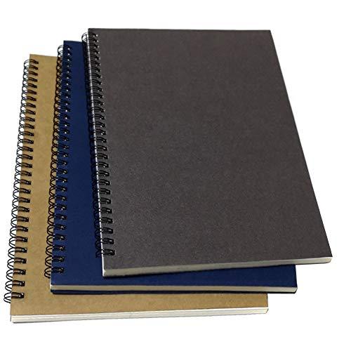 B5 Spiral-Notizbuch/Spiralbuch, elastischer Einband, liniert, spiralförmig, liniert, mit 3 Notizbüchern pro Packung, insgesamt 180 Blatt (360 Seiten), 26,7 x 19,1 cm, Grau/Blau/Braun