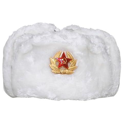 MFH Russian Winter Cap Blanc avec insigne