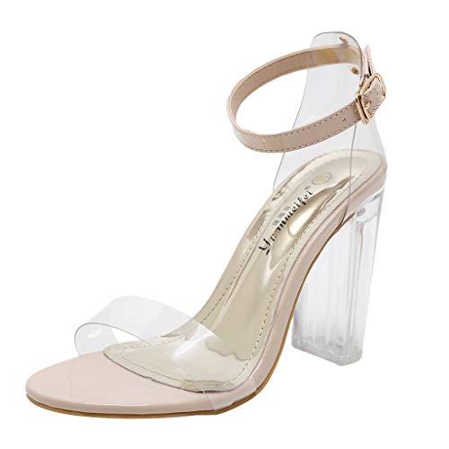 Damen Sommer Absatz Schuhe, Bluestercool Transparente High Heels, Beiläufige Kristallschnalle der Frauen