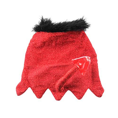 Kostüm Teufel Lustiger - Balacoo 1 stück lustige Katze kostüm kap Halloween kleine Teufel Schwanz weiche pet Cape liefert Hund für Festival Halloween rot m