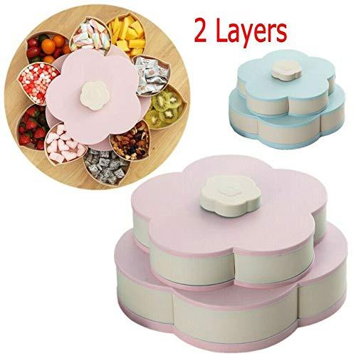 WMX Genießen Sie Life-Bloom Snack Box, Flower Rotating Candy Box Trockenobstteller (Blau) (Bloom Box)