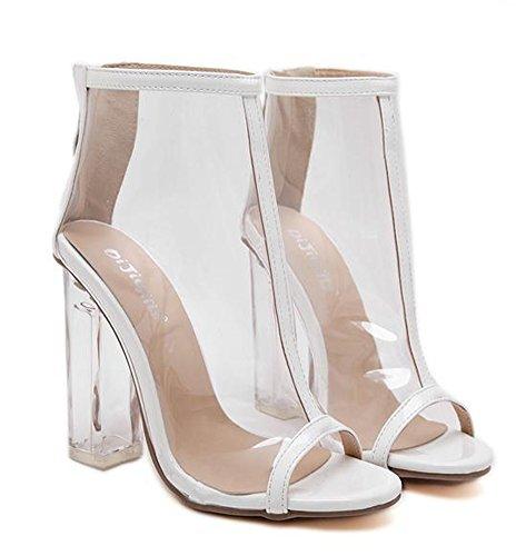 Aisun Bloc Femme Talon Mode Haut Xpniy7i Sandales Blanc Transparent xrCEQoedBW