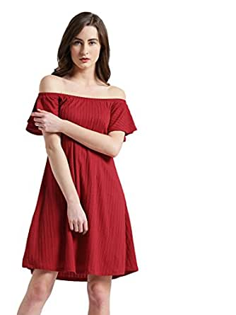 48681c2f8efb Zink London Red Striped Off-Shoulder A-Line Dress for Women  Amazon ...