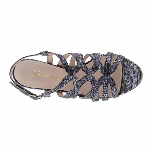 cuir noir et argent sandales Noir