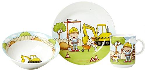 Ritzenhoff & Breker Kindergeschirr Set Bauarbeiter, 3-teilig, Porzellan -