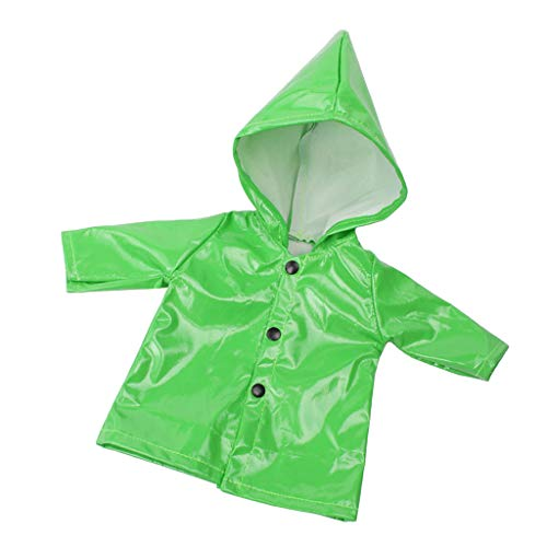 Phenovo Candy Color Raincoat Clothes for 18 Inch Doll Outfit - Green, as described