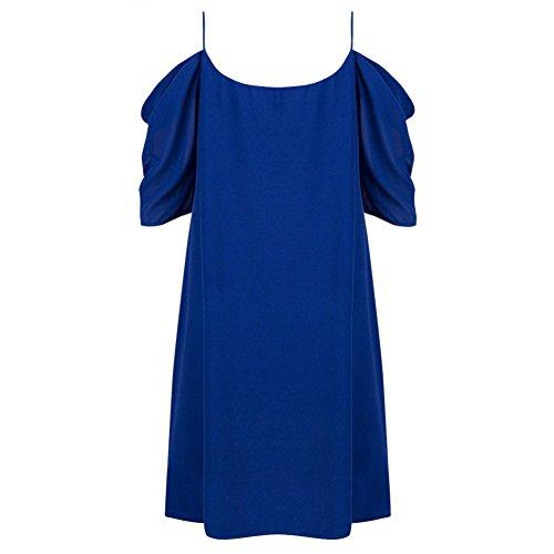 West See Damen Sommerkleider Spagetti Träger Off Shoulder Mini Kleid Kurze Ärmel Kleid A-Linie Rundhalsusschnitt Lässig Strand Party Blau
