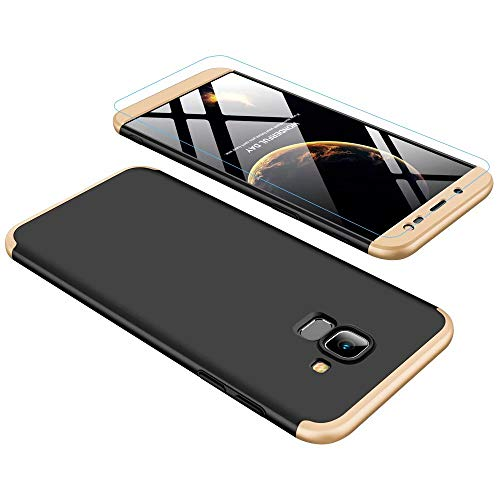 Lanpangzi Kompatibel mit Samsung Galaxy J6 2018 Hülle + Panzerglas, PC Hartschale 360 Grad Full-Cover Anti-Schock HandyHülle Anti-Kratz Stoßfänger Case mit Panzerglasfolie,Gold+Schwarz