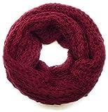 Feinstrick-Loop Schal Halstuch Schlauchschal Rundschal Tuch Damen Women uni einfarbig, Rot Weinrot Bordeaux Dunkelrot, Einheitsgröße