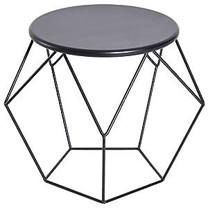 HOMCOM Couchtisch Beistelltisch Satztisch Nachttisch rund Aufbewahrung Metallkorb Wohnzimmer Schlafzimmer 54 x 54 x 44 cm
