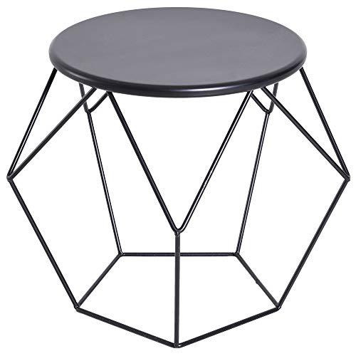 HOMCOM Couchtisch Beistelltisch Satztisch Nachttisch rund Aufbewahrung Metallkorb Wohnzimmer Schlafzimmer 54 x 54 x 44 cm -