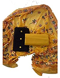 Sheetal Online Women's Unstitched Cotton Dress Materials, Combo of Black Top, Yellow Bottom, Yellow Dupatta (Free Size)