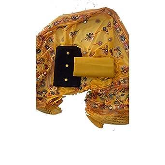 Sheetal Online Women's Unstitched Cotton Dress Materials, Combo of Black Top, Yellow Bottom, Yellow Dupatta (Free Size)