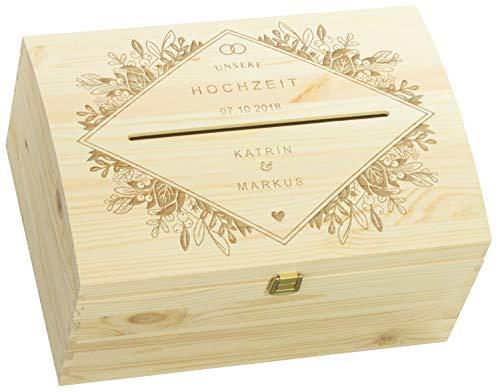 LAUBLUST Holztruhe mit Schlitz zur Hochzeit - Florale Raute - Personalisierte Geschenkkiste - 35x25x19cm, Natur, FSC® - Karte Hochzeit Box Wünsche