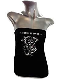 Sons of anarchy reaper logo-tube top femmes (noir) -  Noir - Large