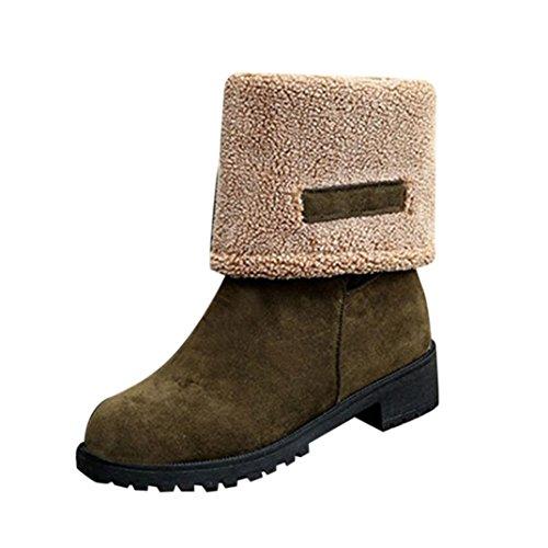 Bottes et boots,Transer® Mode dames femmes hiver Gardez chaud double Usage bottes chaussures de neige plat chaud Vert