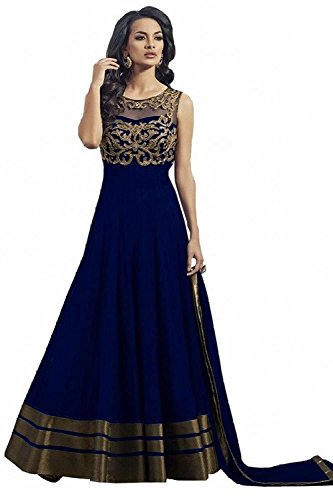 Super Deal Woman\'s Blue Soft Net Anarkali Unstitched Free Size XXL Salwar Suits Sets Dress (Indian Clothing)