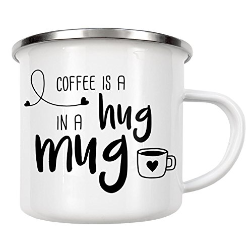 artboxONE Emaille Tasse Hug in a Mug von AB1 Edition - Emaille Becher Essen & Trinken