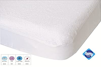 PMP Lote Sábana ajustable Protector de colchón Blanca 60X120 cm