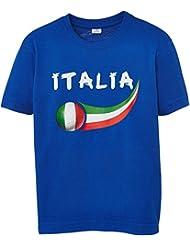 Supportershop Italia Calcio Fan T-Shirt, Blu (Blu Elettrico), 8/9 Anni