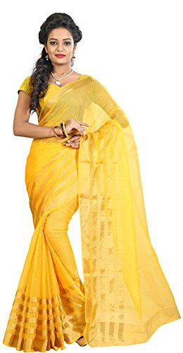 Sharanam Women Poly Cotton Saree With blouse piece (Yellow)  available at amazon for Rs.209