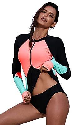 Boldgal Women's Bathing Full-Sleeved Swim Zipper Beach Top (Multi-Coloured)