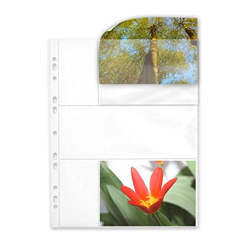 fotohuellen 10x15 100 Fotohüllen weiß 10x15 cm Querformat für 2x2 Fotos 75634