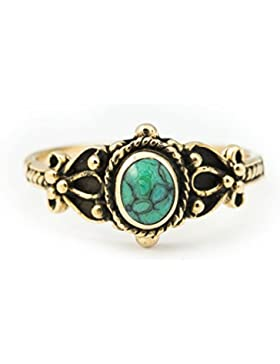 WINDALF Mittelalter Ring SHEELA h: 0.9 cm Türkis Bronze