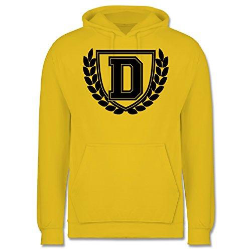 Anfangsbuchstaben - D Collegestyle - Männer Premium Kapuzenpullover / Hoodie Gelb