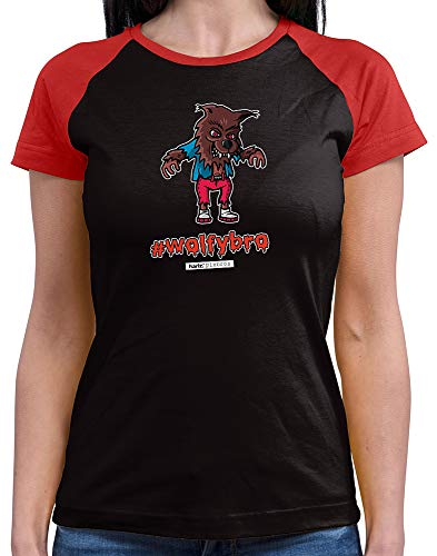 HARIZ  Damen Baseball Shirt Pixbros Wolfybro Halloween Kostüm Horror Karneval Plus Geschenkkarte Black/Red S -
