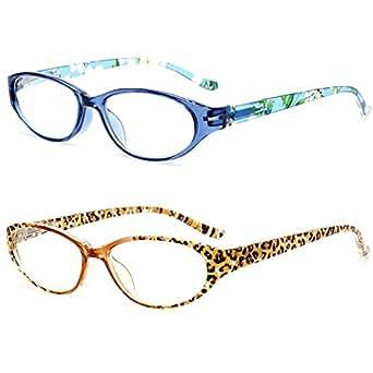 VEVESMUNDO Damen Lesebrille Leopard Blumen Lesebrillen Lesehilfe Augenoptik Vollrandbrille Brille 1.0 1.5 2.0 2.5 3.0 3.5 4.0 (2 Stück (Leopard+Blau), 1.5)