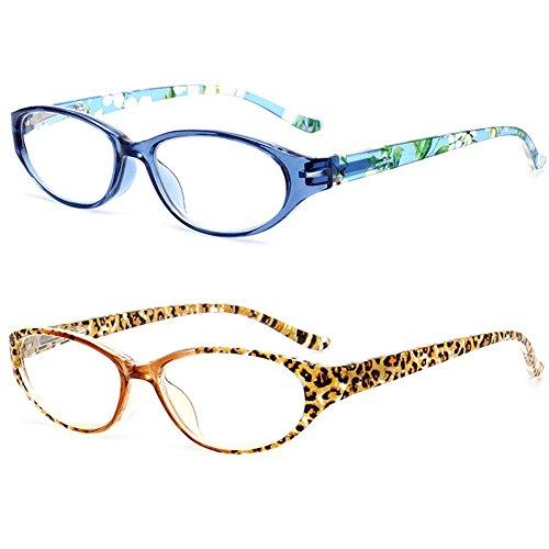 2 x LANOMI Damen Lesebrille Leopard Blumen Print Schmale Lesebrillen Lesehilfe Augenoptik Designer Vollrandbrille Brille Mode (Leopard+Blau Set, 3.5)