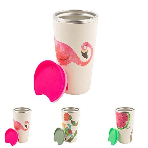 BIOZOYG Nachhaltiger Bambus Kaffee to go Becher Bamboo Cup mit Edelstahlkern, Drückverschluss I...