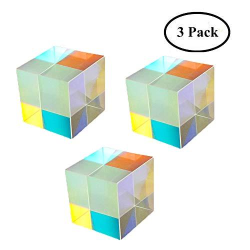 Optisches Glas Würfel Prisma Kunst Kristall Regenbogen Maker reflektierende Lichtspektrum Physik Foto Fotografie Prisma, 3er Pack